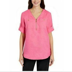 Ellen Tracy Pink Linen Blouse